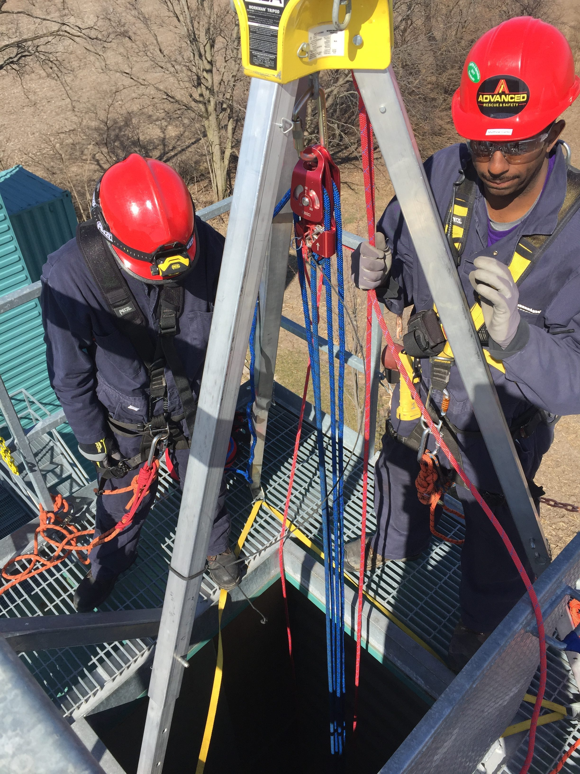 Confined space rescue vertical entry
